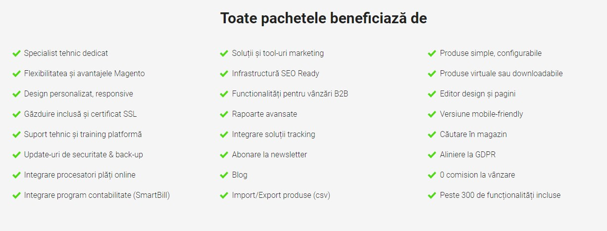 Functionalitati Platforma magazin online - Blugento.ro